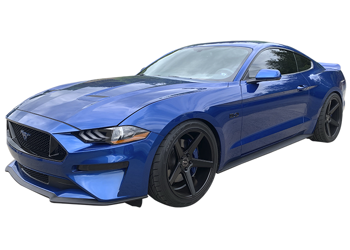 blue ford mustang with transparent background