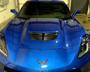 blue chevrolet corvette with 20% windows tinted