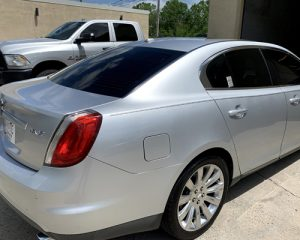 gray lincoln mks with full windows tinted