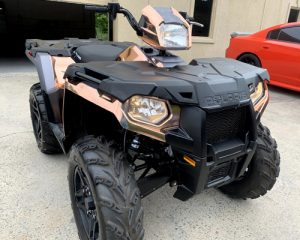 front of all terrain vehicle with custom wraps